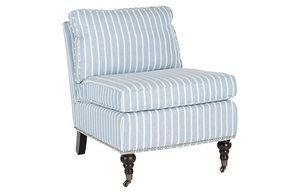 One Kings Lane Davis Slipper Chair, Blue/White Linen for Sale in McLean, VA