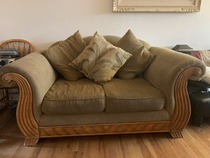 Tan Love Seat with pillows for Sale in Denver, CO