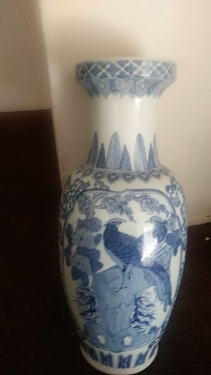 Blue and white floor vase . Pheasant and peacock . for Sale in Richmond, CA