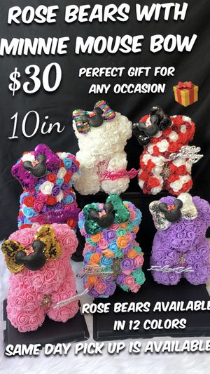 🌹🧸🎁🍭 Beautiful Rose Bears with Minnie Mouse Bow. 10in Tall. Same Day Pick Up Is Available. Roses Are Made Out Of Foam. for Sale in South Gate, CA
