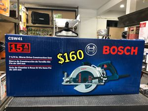 BRAND NEW Bosch 15 Amp 7-1/4 in. Corded Magnesium Worm Drive Circular Saw with Carbide Blade $160 CASH & FIRM NO LOW BALLERS NO LOW OFFERS SET PR for Sale in Los Angeles, CA
