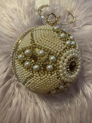 Pearl clutch purse with gold strap for side bag evening for Sale in Merced, CA