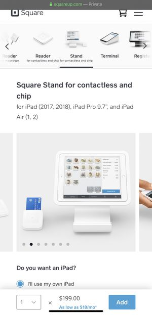 Square stand and card reader for Sale in Spokane Valley, WA