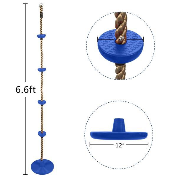 Climbing Rope Swing with Disc Swing Seat Set Rope Ladder for Kids
