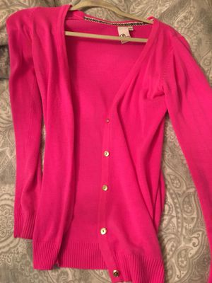 Hot pink cardigan with gold buttons for Sale in Anderson, SC