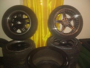 """""""18"""" inch universal black rims with steel lips for Sale in Columbus, OH"""