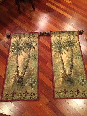 Two Hanging Tapestry with Rod & Finials for Sale in Puyallup, WA