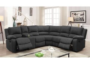Monique Graphite Sectional W/2 Recliners and 2 Drop-Down Tables for Sale in Marlborough, MA
