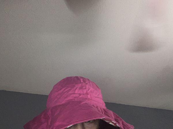 Pink polka dot bucket hat