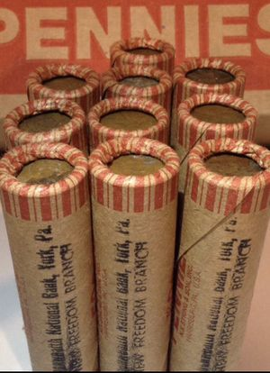 Ten (10) RARE Vintage Unsearched Commonwealth National Bank Original Bank Wrapped 1909-1958 Wheat Penny Rolls- Rare Dates & Errors Possible for Sale in Fairfax, VA