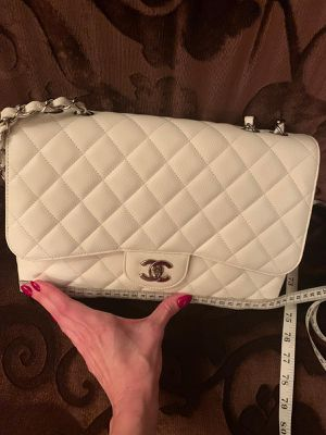 Chanel Classic Jumbo Single Flap Bag, White for Sale in North Miami Beach, FL