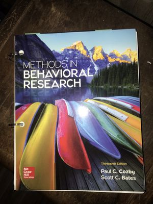 Methods In Behavioral Research 13th Edition with Code! (Psychology) for Sale in Clovis, CA
