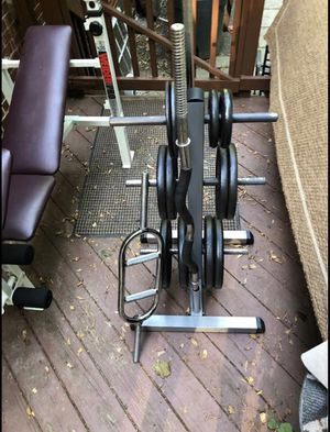 weight set, 155lbs, 3 bars, weight free, full weight set up for Sale in Alexandria, VA