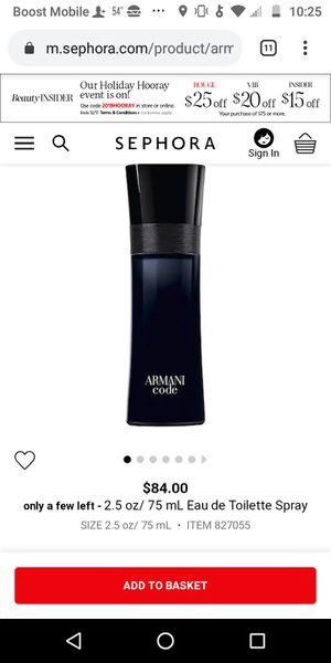 New in box men Armani code 2.5 oz 45 for Sale in Fresno, CA
