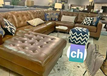 Same day & free delivery💟Baskove Auburn Large Leather LAF Sectional 💟sofa, couch, living room□ for Sale in Houston,  TX