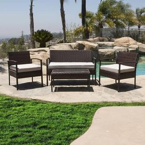 SHIPPING ONLY 4 Piece Patio Furniture Set Brown w/Chairs Table and Couch for Outdoor Areas for Sale in Las Vegas, NV