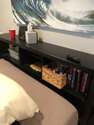 Black bookcase queen head Board (could fit full too) for Sale in Long Beach, CA