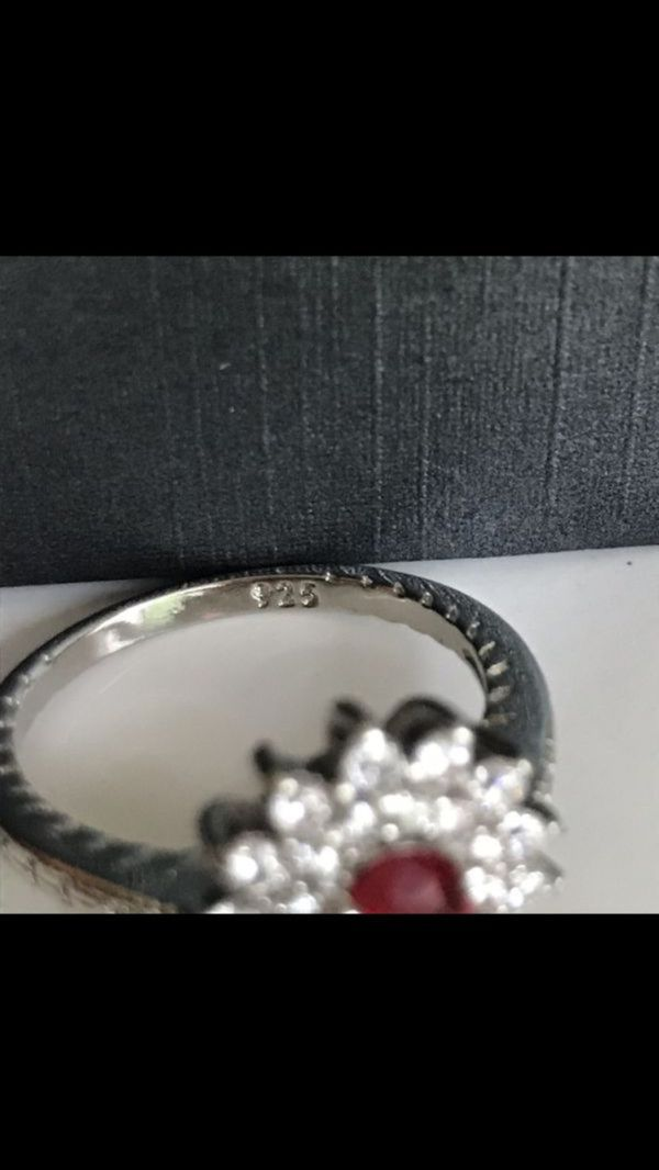 925 silver oval cut ruby Wedding engagement ring women's jewelry accessory sz 7