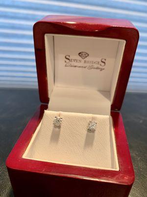 Diamond earrings 14k .33 each .66 total weight for Sale in Rolling Meadows, IL