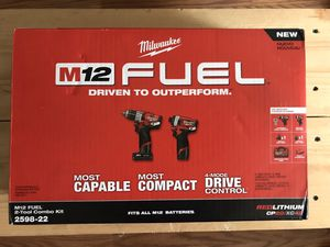 Milwaukee M12 FUEL 12-Volt Lithium-Ion Brushless Cordless Hammer Drill and Impact Driver Combo Kit (2-Tool) w(2) Batteries & Bag for Sale in Queens, NY
