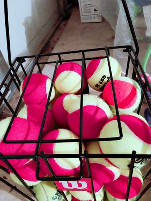 Tennis racket 23'' and one basket of training red ball for Sale in Austin, TX