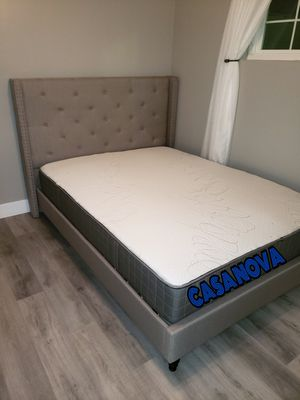 BRAND NEW BED FRAME QUEEN COMES IN BOX 📢📢📢📢WITH MATTRESS INCLUDED 📢📢📢📢AVAILABLE FOR SAME DAY DELIVERY OR PICK UP for Sale in Compton, CA