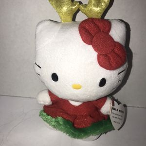 """Ty Beanie Baby Hello Kitty Plush Christmas Reindeer Antlers Red Green Dress 6"""" for Sale in Terrell, TX"""