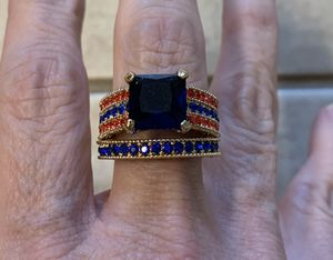 New 2 piece blue sapphire gold filled wedding ring size 8 for Sale in Inverness, IL