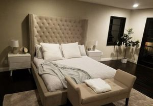 BRAND NEW EXTRA TALL FABRIC TUFTED BED FRAME WITH NAILHEAD TRIM WINGS - QUEEN, KING, CAL KING for Sale in Dublin, CA
