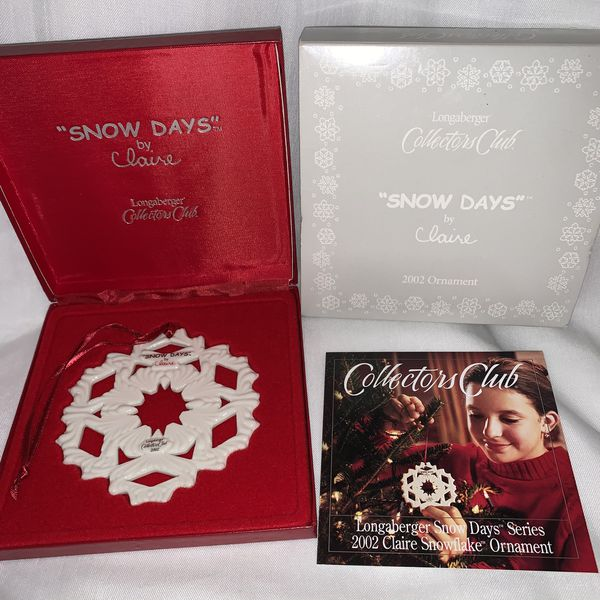 Longaberger 2002 CLAIRE Snow Days Collector's Club Snowflake Ornament NEW