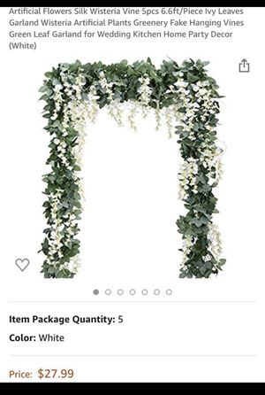 Artificial Flowers Silk Wisteria Vine 5pcs Ivy Leaves Garland Wisteria Artificial Plants Greenery Fake Hanging Vines Green Leaf Garland f for Sale in Birmingham, AL