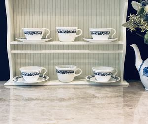 Vintage Corelle Corningware Blue Onion Old Town Blue Vitrelle 10-Piece SET Coffee Tea Mug Cups and Saucers Made USA for Sale in Miami, FL