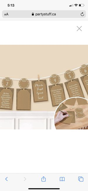 NEW Amscan International 220302 Card HolderGRLND Chart Seating Rustic Seating Charts great for a wedding or any other social gathering. for Sale in Elkton, VA