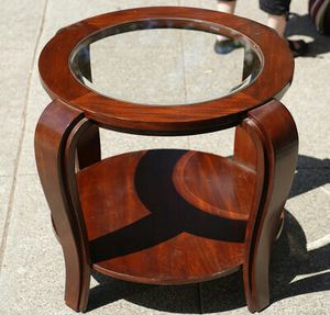 """#30350 Asian Teak 26"""" x 34"""" Diameter Table with Glass Inlay for Sale in Oakland, CA"""