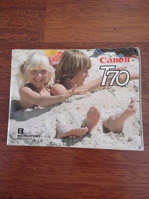 Canon T-70 Original Manual- Beautiful Condition for Sale in Montclair, CA