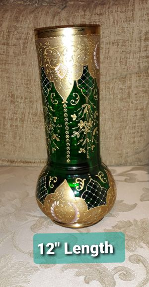 Glass Vase Green And Gold-Vintage for Sale in BVL, FL