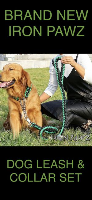 Iron Pawz Heavy Duty Professional Training Dog Leash and Collar Set Green and Black for Sale in Avondale, AZ