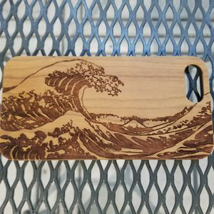 Wave of Kanagawa design laser engraved wood case for Sale in Newport Beach, CA