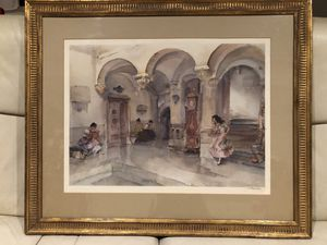 """William Russell Flint's """"The Mairie Manosque"""", Signed Watercolor Print, Vintage printed in London for Sale in NO POTOMAC, MD"""
