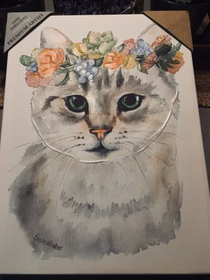 Hand Embellished Giclèe By Master Artisans on Canvas Cat for Sale in San Diego, CA