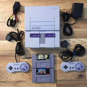 Super Nintendo SNES System Console Bundle With Mario Kart & Mario All-Stars for Sale in Banning, CA