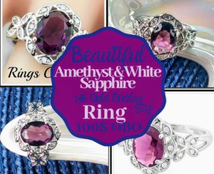 Beautiful Amethyst And White Sapphire Ring for Sale in White Bear Lake, MN
