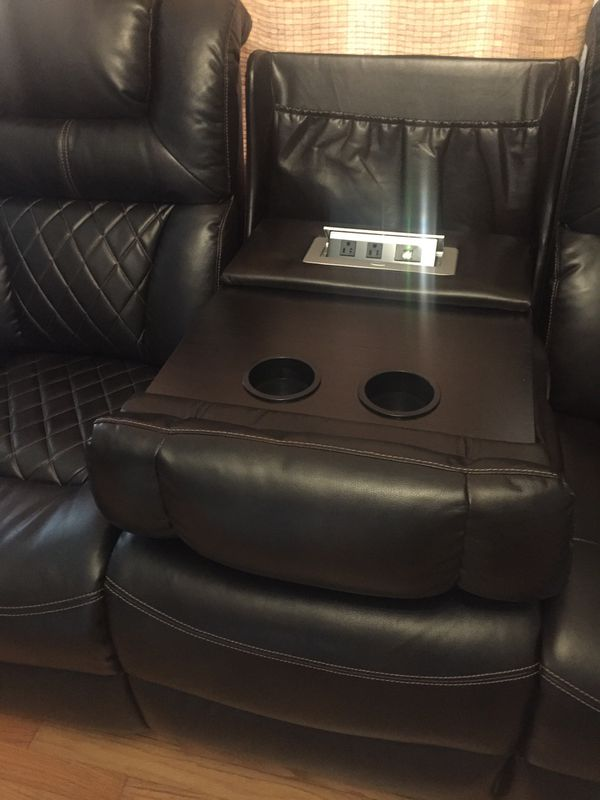 Power leather couch