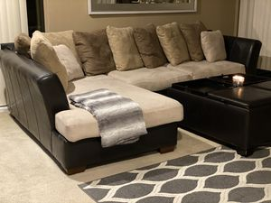 L Shape Couch and Ottoman with flip top table for Sale in Foster City, CA