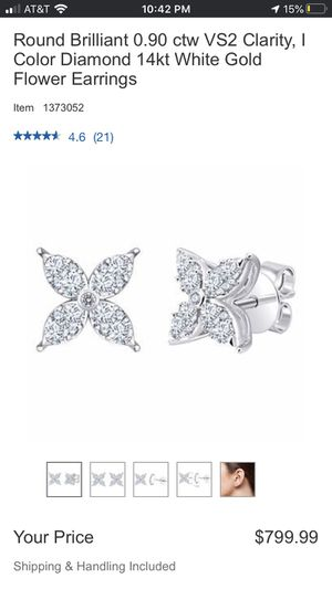 Diamond & white gold Floral earrings for Sale in Gladstone, OR