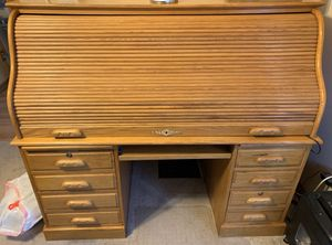 Solid Oak Roll Top Desk, HP Printer and Desk Lamp Package for Sale in Durand, MI