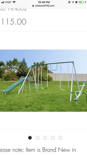 Sportspower Outdoor Live Oak Metal Swing and Slide Set up to 8 kids - $115 ( for Sale in Houston, TX