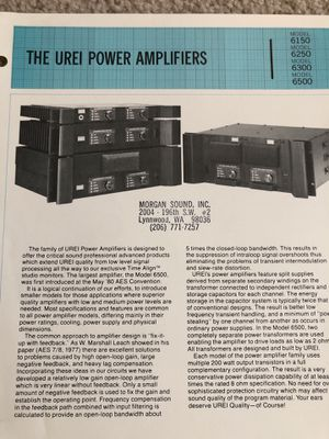 Urei amplifier brochure and price sheet for Sale in Snohomish, WA