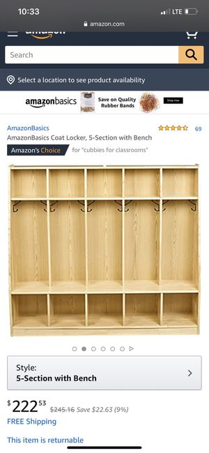 Classroom coat locker 5- section with bench for Sale in Sacramento, CA