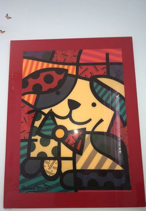Romero Britto abstract art dog painting for Sale in Miami, FL